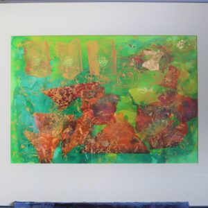 Framed mixed media painting – orange, green, gold-leaf abstract design.