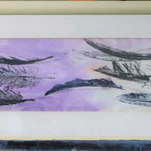 Dark blue feather print, wooden frame