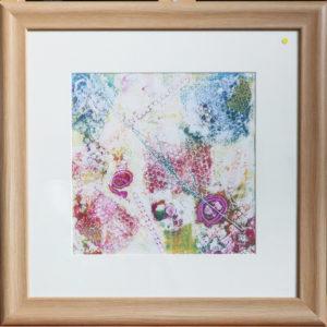 Bubblewrap monoprint, wooden frame