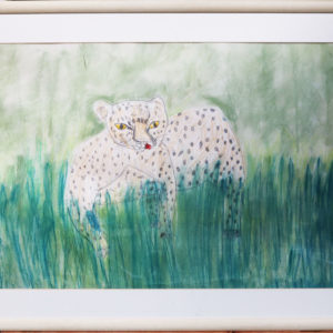 Large coloured drawing of leopard in grass, wooden frame 35.5 x 25.5 inches Price £50