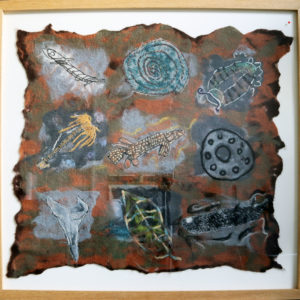 Large felted fossil panel (from 'Into the Light' exhibition, Woodhorn Museum) solid wood square profile frame 39.5 x 37.5 inches Price £100
