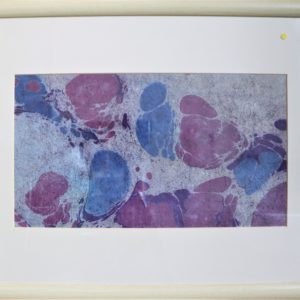 Marbled ink picture, blue and purple, wood frame 18.5 x 16.5 inches Price £40