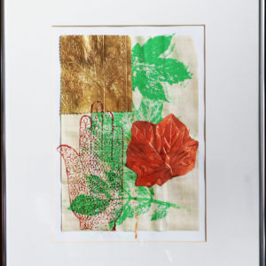Indian hand collage print, metal frame 18 x 21 inches Price £50