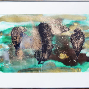 Black and gold leaf print, metal frame 23.5 x 16.5 inches Price £50