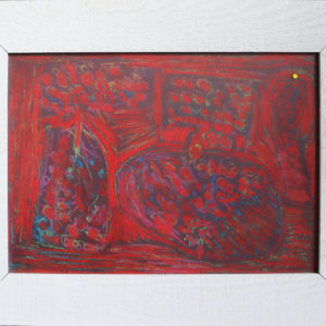 Red chalk pastel, textured pale wooden frame 21 x 16.5 inches Price £40