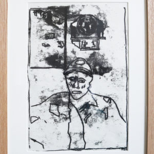 Miner monoprint (from 'Into the Light' exhibition, Woodhorn Museum) solid wood square profile frame 16.5 x 21.5 inches Price £50