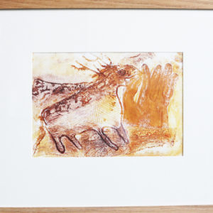 'Prehistoric' deer monoprint with hand (from 'Into the Light' exhibition, Woodhorn Museum) solid wood square profile frame 22.5 x 18 inches Price £50