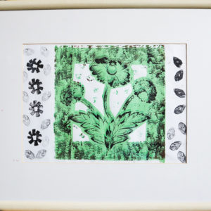 Black and green wall paper print, wooden frame 25 x 30 inches Price £25
