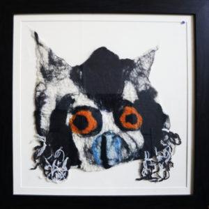 Lemur, handmade felt, black wooden frame 23 x 23 inches Price £50