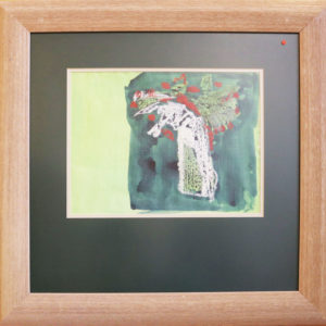 Red and green flower bouquet pastel drawing in wide wooden frame