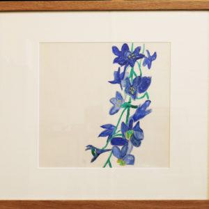 Blue flower stem watercolour