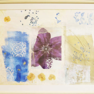 Large mixed media flower collage