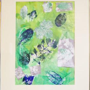 Blue and green large leaf print