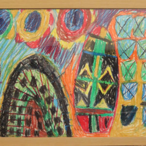 Brightly coloured pen drawing,