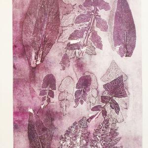 Purple weeds monoprint