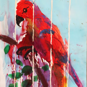 Colourful large parrot painting