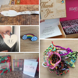 A collage of photos of badges, friendship bracelets, cards, and colouring books.
