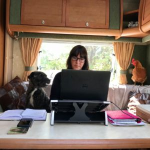 Staff member finds unusual way of working from home