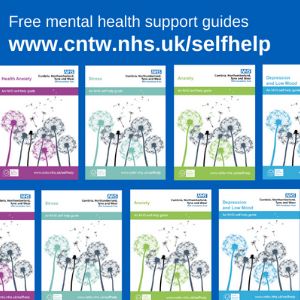 Tiled images of the trust's self-help guides' covers