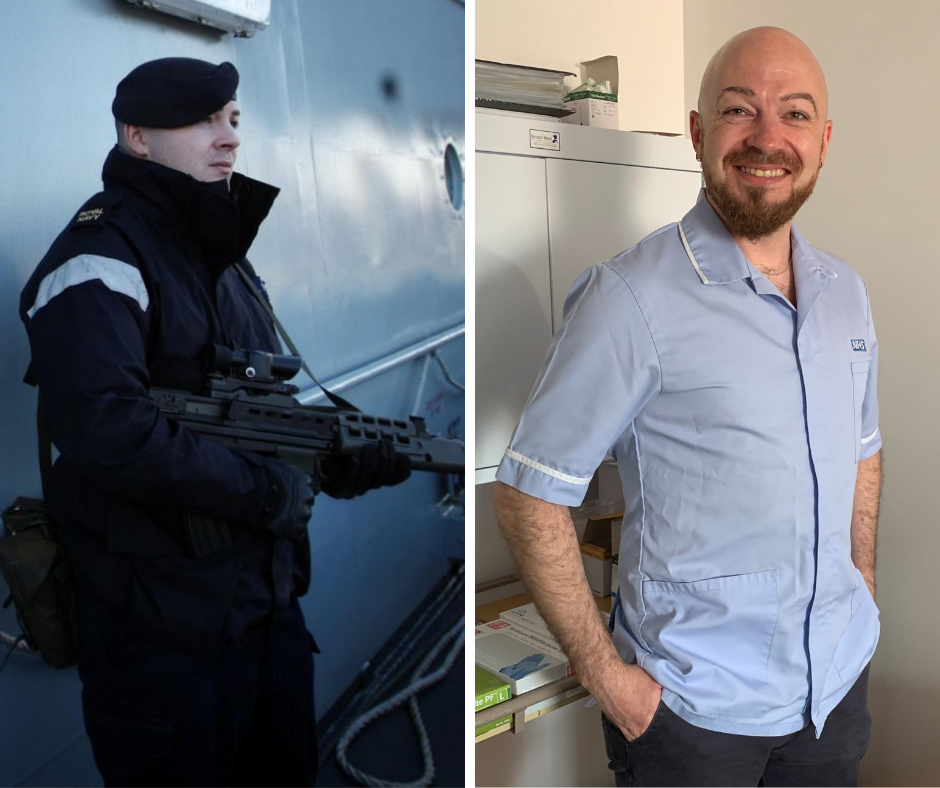 Left, Ed Warrington on duty as Quarter Master alongside the HMS Tyne; right, Ed Warrington in uniform at work as a Community Clinical Support Assistant at the Molineux Centre in Newcastle