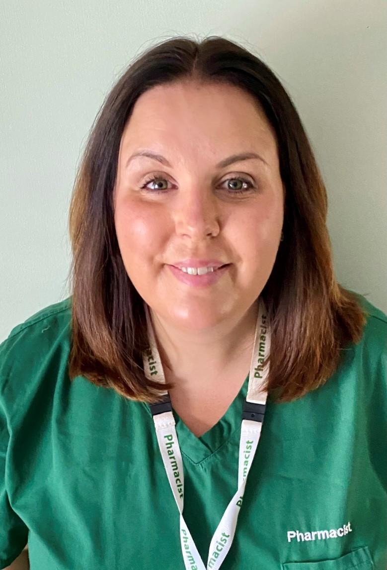 Fiona Brownlee in her pharmacist uniform