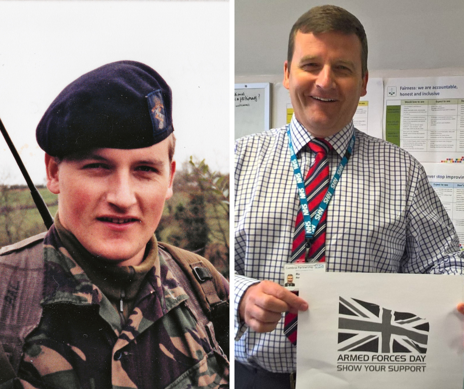 Left, Richard Lloyd serving in Northern Ireland; right, Richard Lloyd at work holding the Armed Forces Day logo