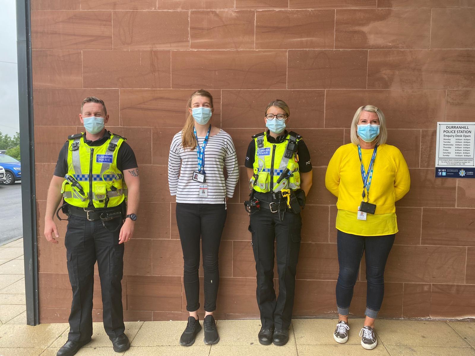 PC Chris Rudd, Registered Mental Health Nurse Katie Pymm, PC Alice Simpson and Registered Mental Health Nurse Deborah Mawson.