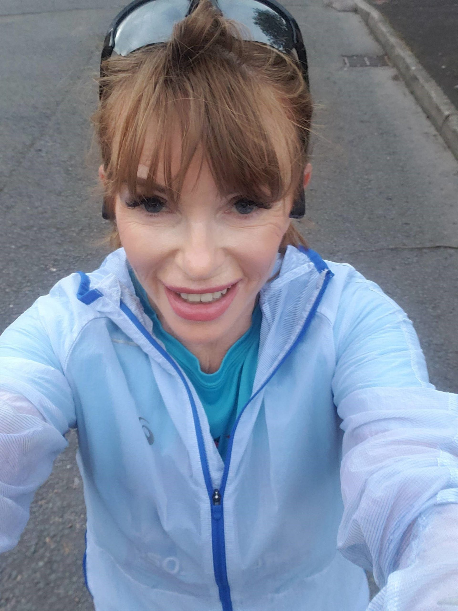 Caroline Hurt taking a selfie while out on a training run